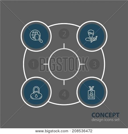 Editable Pack Of Account Data, Copyright, Safe Storage And Other Elements.  Vector Illustration Of 4 Privacy Icons.