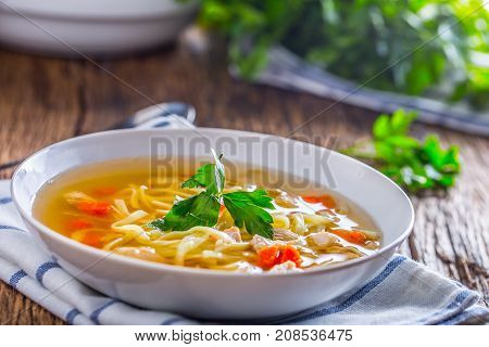 Chicken Broth. Bone Broth With Noodles Carrot And Parsley In White Bowl