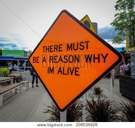 Signboard On Street In Christchurch, Nz