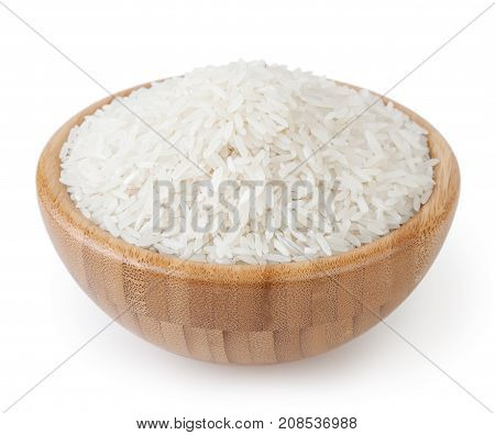 White long-grain jasmine rice in wooden bowl isolated on white background with clipping path