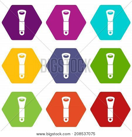 Branch of hops icon set many color hexahedron isolated on white vector illustration