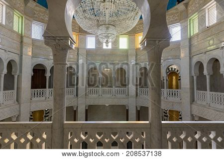 Monastir.Tunisia. OCTOBER 11, 2017. The interior of the crypt and the Mausoleum of Habib Bourgiba, the first President of the Republic of Tunisia, TUNISIA