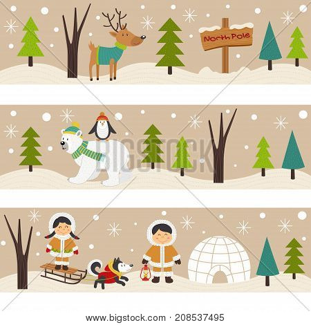 set of horizontal banners with Eskimos and polar animals - vector illustration, eps