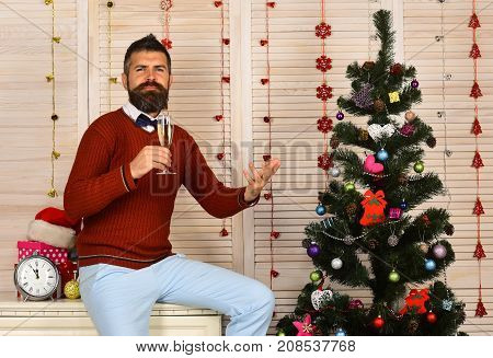 Party Man With Proud Face In Festive Room