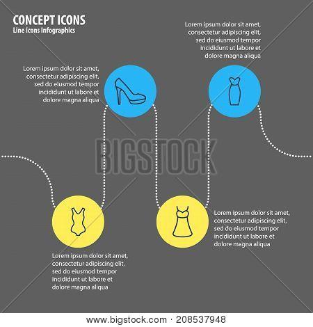 Editable Pack Of Sandal, Evening Dress, Sarafan Elements.  Vector Illustration Of 4 Garment Icons.
