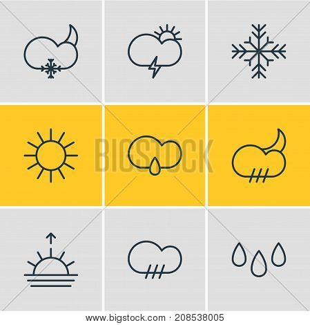 Editable Pack Of Rainy, Drizzles, Cloud And Other Elements.  Vector Illustration Of 9 Sky Icons.