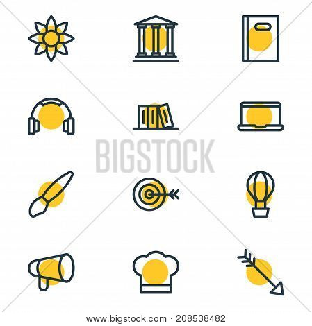 Editable Pack Of Air Balloon, Megaphone, Bow And Other Elements.  Vector Illustration Of 12 Leisure Icons.