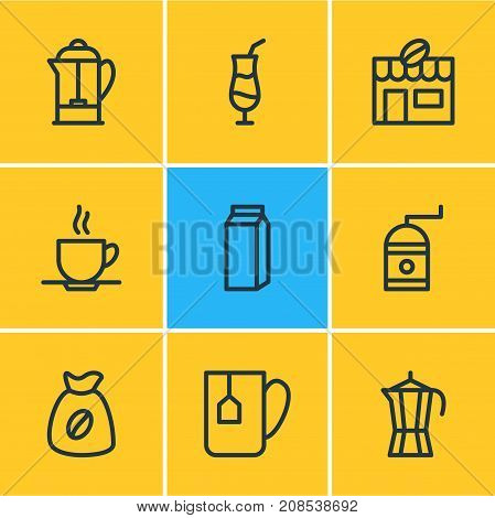Editable Pack Of House, Mocha, Bag And Other Elements.  Vector Illustration Of 9 Java Icons.