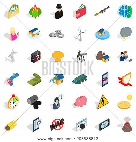 No war icons set. Isometric style of 36 no war vector icons for web isolated on white background