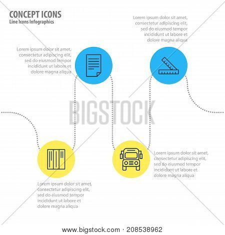Editable Pack Of Car, Bookshelf, Paper And Other Elements.  Vector Illustration Of 4 Education Icons.