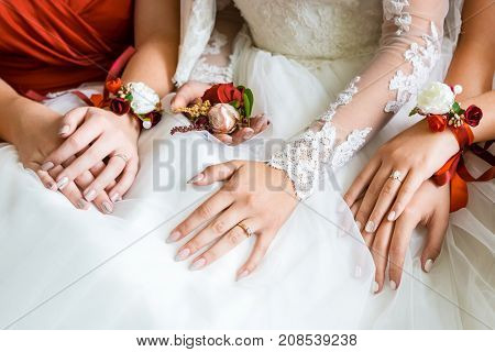 Closeup hands of the bride and bridesmaids. Red Butoniere