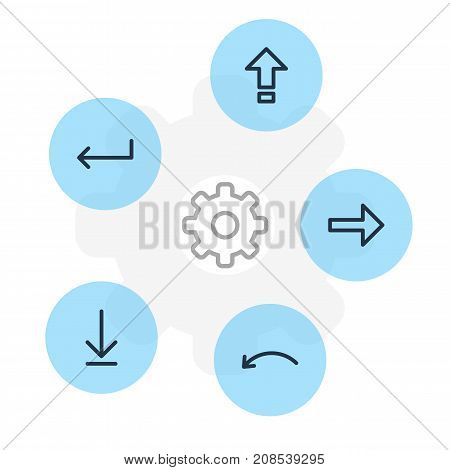 Editable Pack Of Loading, Shrift, Right And Other Elements.  Vector Illustration Of 5 Sign Icons.