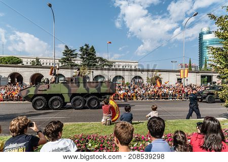 Madrid Spain - October 12 2017: Tank in Spanish National Day Army Parade. Several troops take part in the army parade for Spain's National Day.