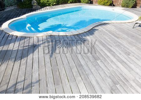 Large Private Pool At Home In Garden With Wood