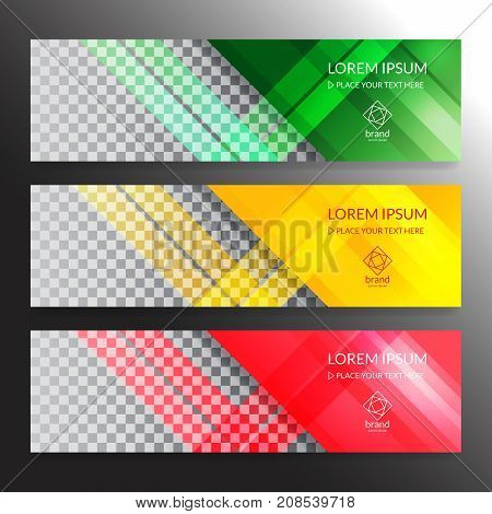 Set of horizon abstract colorful display banner background with copy space