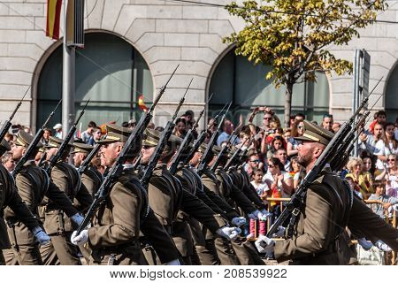 Madrid Spain - October 12 2017: Soldiers marching in Spanish National Day Army Parade. Several troops take part in the army parade for Spain's National Day