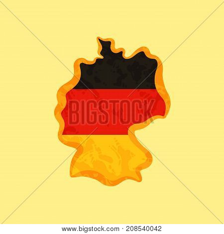 Germany - Map Colored With German Flag
