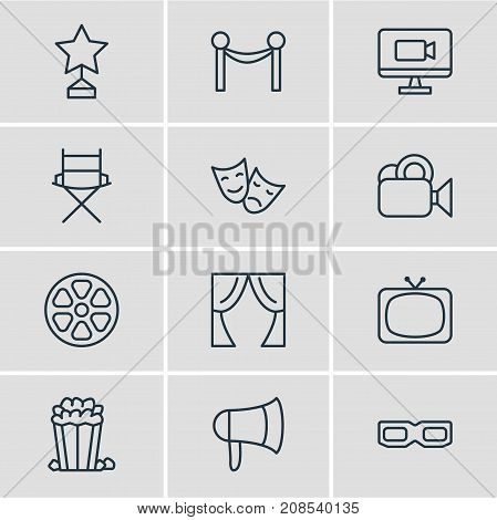 Editable Pack Of Movie Reel, Shooting Seat, Snack And Other Elements.  Vector Illustration Of 12 Movie Icons.