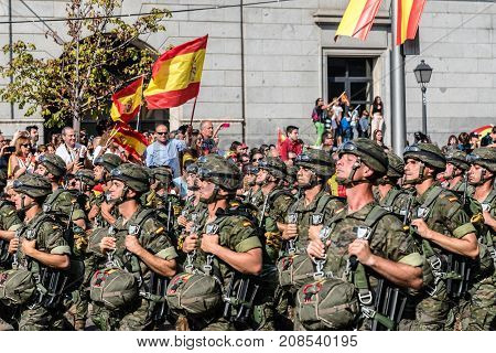 Madrid Spain - October 12 2017: Paratroopers marching in Spanish National Day Army Parade. Several troops take part in the army parade for Spain's National Day.