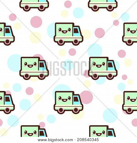 Baby boy vector seamless pattern. Car and smiling transport kawaii apparel design, cute wear style for babies, toddlers, little kids, unique clothing with amazing decor
