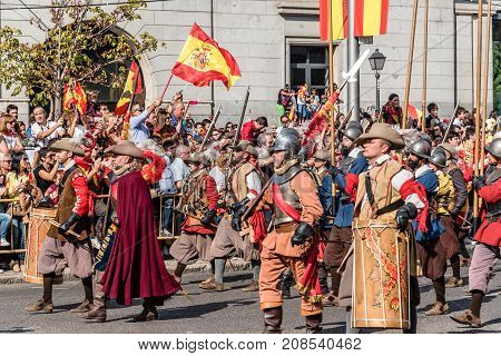 Madrid Spain - October 12 2017: Soldiers of old Spanish Tercios in traditional costume marching in Spanish National Day Army Parade.