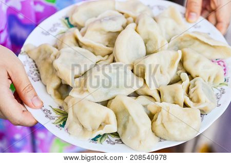 Two Hands Holding a Plate of Boiled Chinese Dumplings (Jiaozi)