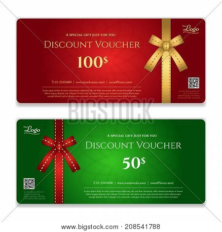 Gift voucher certificate or discount card template for promo compliment