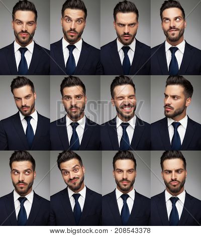 faces of a business man - collage image, on grey background