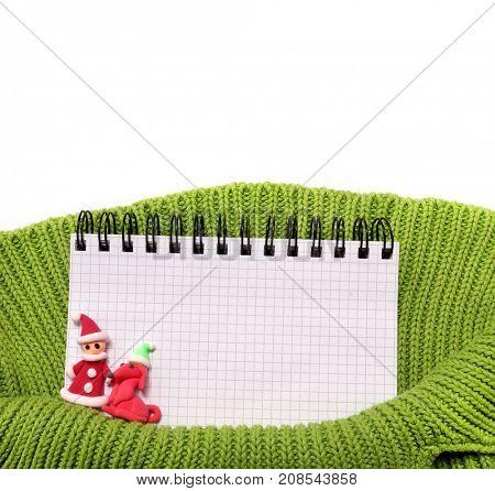 Knitting. Fabric Background. New year's wish list.