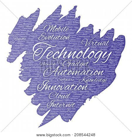 Conceptual digital smart technology, innovation media paint brush word cloud isolated background. Collage of information, internet, future development, research, evolution or intelligence