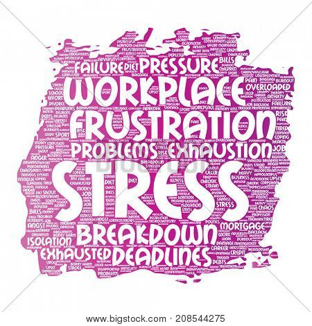 Conceptual mental stress at workplace or job pressure paint brush word cloud isolated background. Collage of health, work, depression problem, exhaustion, breakdown, deadlines risk