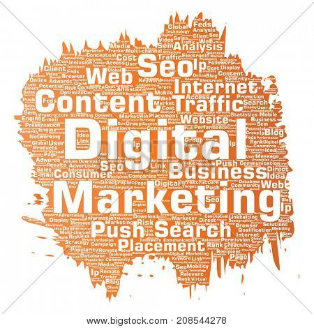 Concept or conceptual digital marketing seo traffic paint brush word cloud isolated background. Collage of business, market content, search, web push placement or communication technology