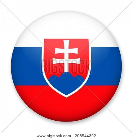 Flag of Slovakia in the form of a round button with a light glare and a shadow. The symbol of Independence Day, a souvenir, a button for switching the language on the site, an icon.