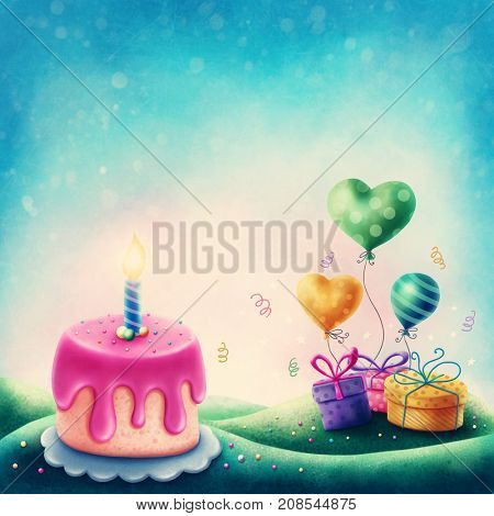 Magic landscape with cake and gift boxes