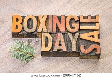 boxing day sale sign in vintage letterpress wood type