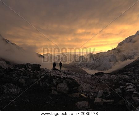 Stunning sunset from Lobuche in Nepal with views down the valley. poster