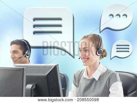 Digital composite of Customer care service people with chat bubbles