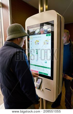 SAINT PETERSBURG, RUSSIA - CIRCA SEPTEMBER, 2017: ordering kiosk at McDonald's restaurant. McDonald's is an American hamburger and fast food restaurant chain.