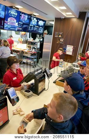 SAINT PETERSBURG, RUSSIA - CIRCA SEPTEMBER, 2017: counter service in a McDonald's restaurant. McDonald's is an American hamburger and fast food restaurant chain.