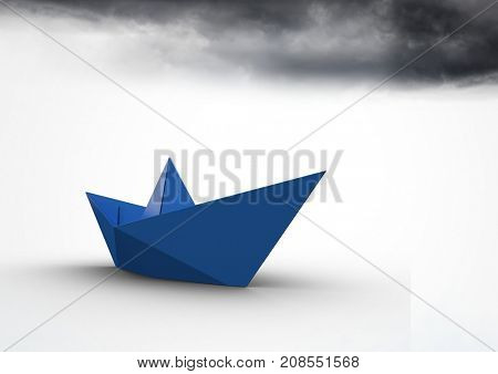 Digital composite of Paper boat with dark clouds