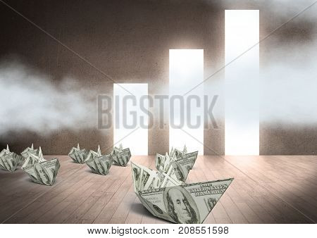 Digital composite of Paper dollar money boats with dollar money bar charts windows