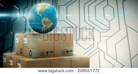 Image of data against circuit board on futuristic background