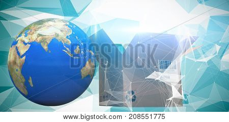 World map and brown box against digitally generated image of abstract pattern on screen