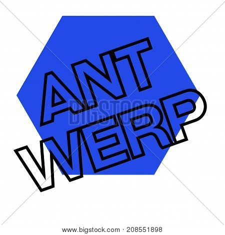 ANTWERP sticker. Authentic design graphic stamp. Original series