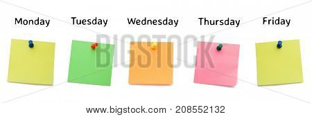 Digital composite of sticky notes for the week