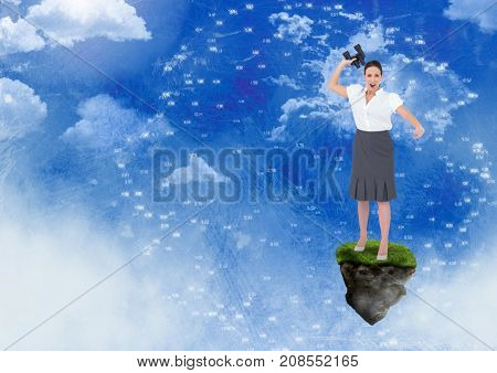 Digital composite of Businesswoman with binoculars on floating rock platform with interface in sky
