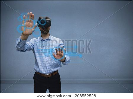 Digital composite of man in shirt with vr using interface