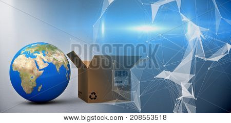 World map and brown cardboard box against digitally generated image of abstract pattern on screen