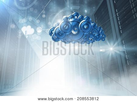 Digital composite of 3D cog gears cloud with servers in background
