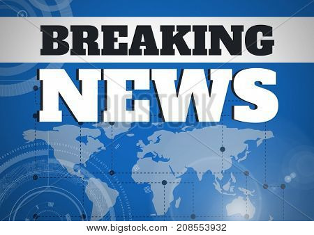Digital composite of Breaking news text in front of world map and interfaces
